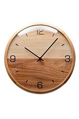 Driini Analog Dome Glass Wall Clock 12 – Pine Wood Frame with Two-Tone Wooden Face – Battery Operated with Silent Movement – Large Decorative Clocks for Classroom, Office, Living Room, or Bedrooms.