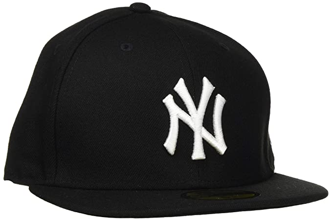 sneakers for cheap 67c79 c3396 New Era New York Yankees Cap Black White 59fifty Basic Fitted Basecap 5950  MLB