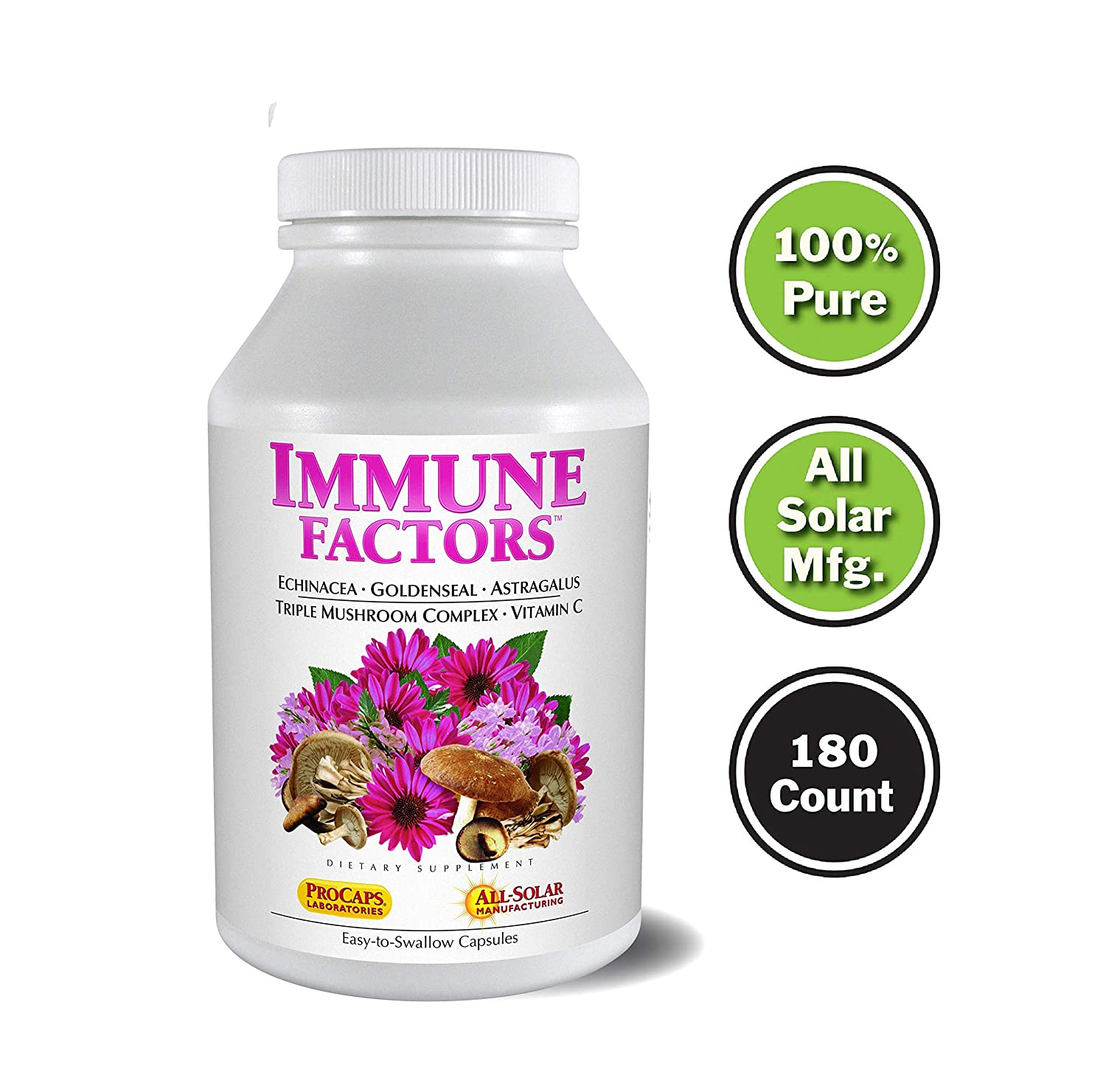 Andrew Lessman Immune Factors 180 Capsules – Echinacea, Goldenseal, Vitamin C, Astragalus, Supports and Promotes Immune System and Natural Defenses, No Additives. Small Easy to Swallow Capsules