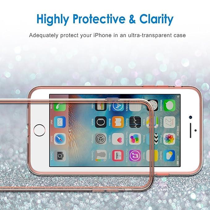 i-comercio Metalic Funda iPhone 6 Rosa/Oro 6S Carcasa TPU Gel