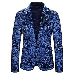 WHATLEESメンズ 長袖 無地 テーラード ジャケット一つボタン 紳士 大きいサイズ ブレザー ビジネス お揃いBA0461-Blue-XL