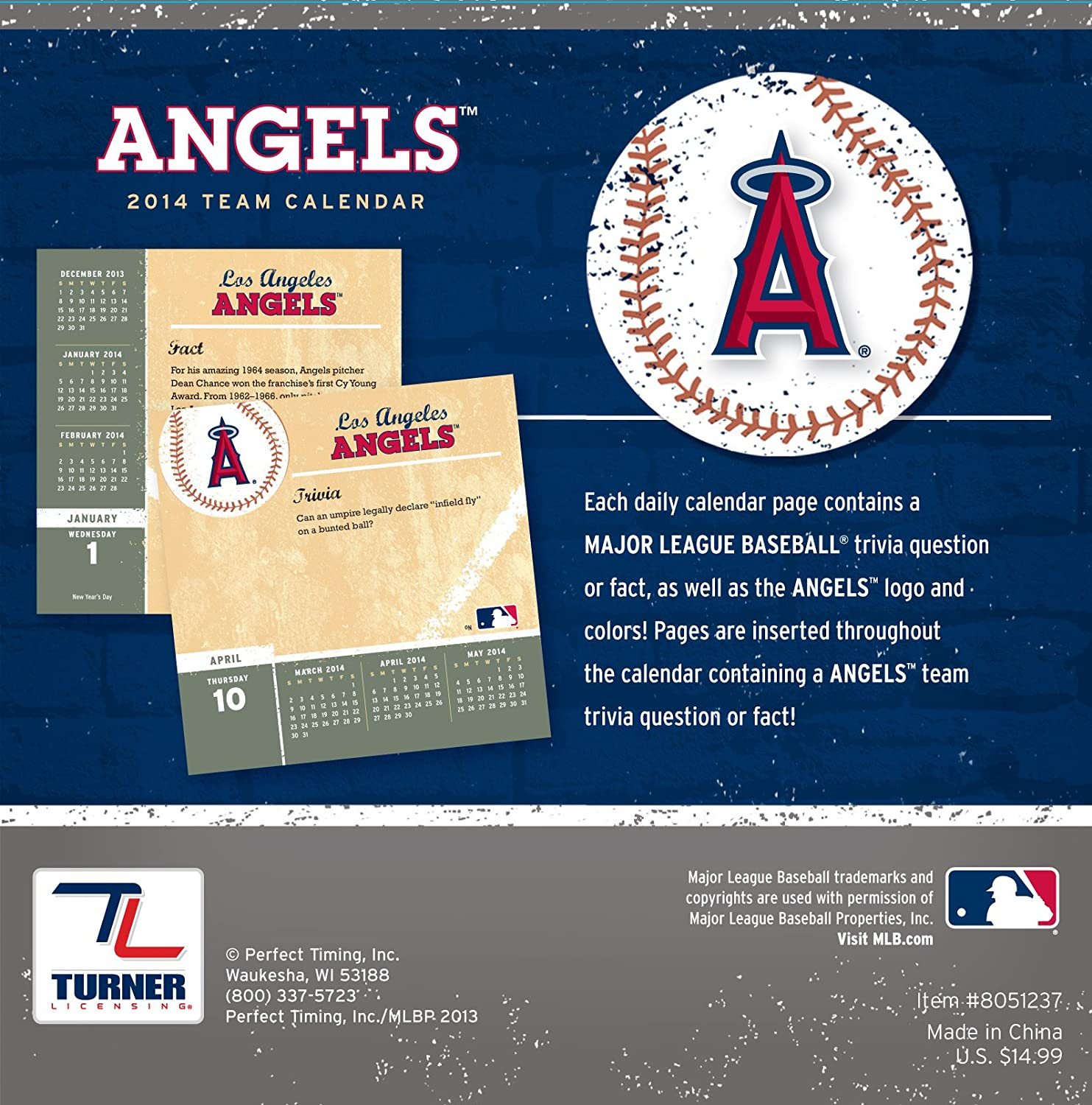 Turner 8051237 Perfect Timing 2014 Los Angeles Angels Box Calendar