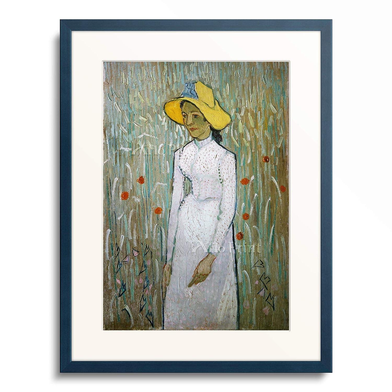 フィンセントファンゴッホ Vincent Willem van Gogh 「Girl in White」 額装アート作品 B07PF8F1V9 10.木製額 13mm(青) S(額内寸 255mm×203mm) S(額内寸 255mm×203mm)|10.木製額 13mm(青)