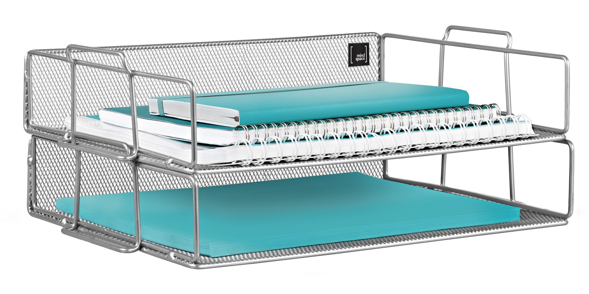 Mindspace 2 Tier Stackable Letter Tray Desk Organizer | The Mesh Collection, Silver