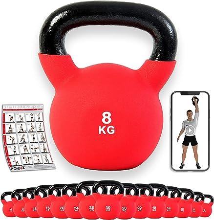 POWRX - Kettlebell Hierro Fundido 4-30 kg - Pesa Rusa con Revestimiento de Neopreno + PDF Workout (Rojo)