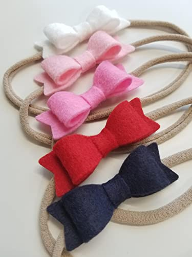 Amazon.com  Baby Bows Nylon Headbands Navy and Pink 0-3 months baby girl  clothes baby girl headbands  Handmade d5c0b5834b3