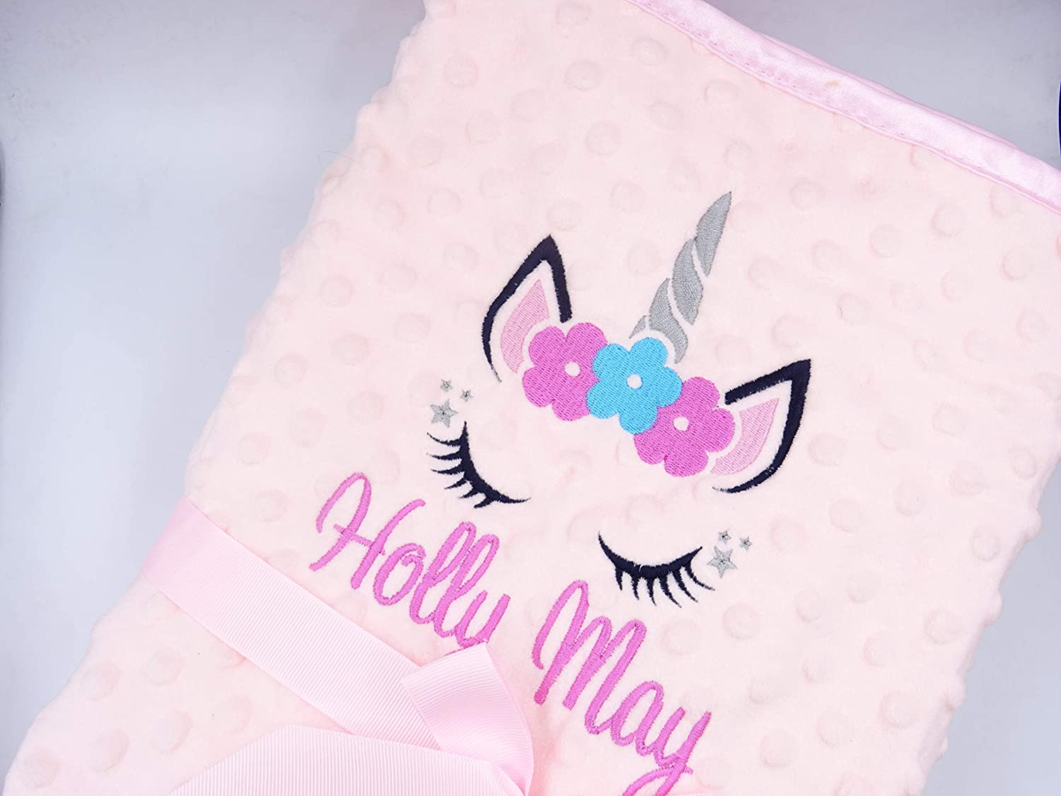 Personalised Unicorn Blanket Minky Dimple and Fleece Lined Embroidered with *Any Name* (Pink) Just Toys Online