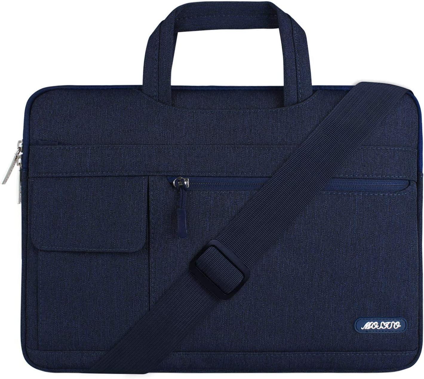 MOSISO Laptop Shoulder Bag Compatible with 2019 MacBook Pro 16 inch A2141, 15 15.4 15.6 inch Dell Lenovo HP Asus Acer Samsung Sony Chromebook, Polyester Flapover Briefcase Sleeve Case, Navy Blue