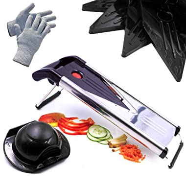 Mandoline Slicer, Vegetable Potato Slicer, Julienne Slicer, Onion Cutter, Including 5 Interchangeable Stainless Steel Blades. Cut Resistant Gloves Included.