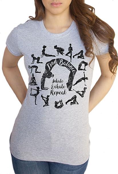 f82888073b Women's Grey T-Shirt Om Yoga Find Balance-Inhale, Exhale, Repeat Meditation