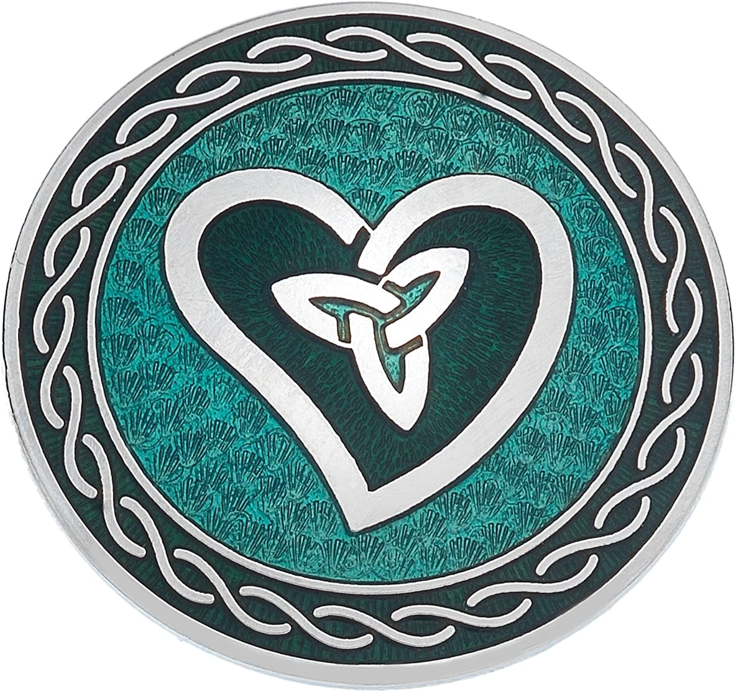 UNYKTOUCH Handmade Celtic Wave Heart with Trinity Knot Green Round Shaped Brooch
