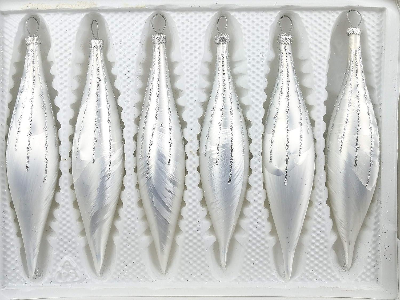 Weihnachtsschmuck-Christbaumschmuck 6 TLG Christbaumkugeln Glas-Zapfen Set in Hochglanz Vintage Style