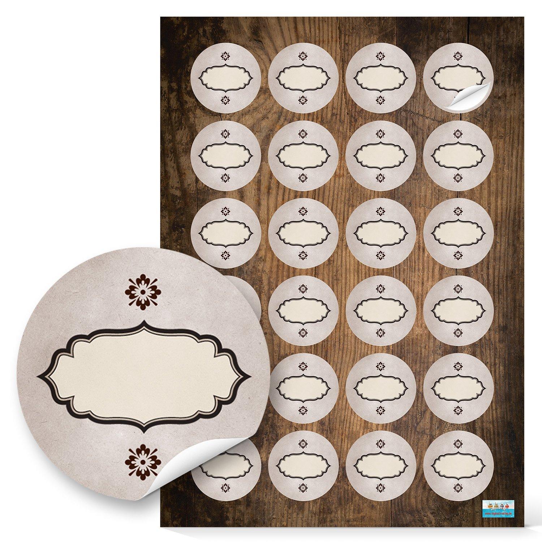 48pezzi vuote ovali beige marrone Vintage adesivi etichette adesivi con 4cm di diametro; 1A di alta qualità produzione propria Jeanette Dietl