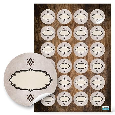 48 Stück Runde Haushaltsetiketten Blanko Aufkleber Etiketten Zum Beschriften 4 Cm Oval Beige Braun Natur Vintage Nostalgie Selbstklebende Sticker F
