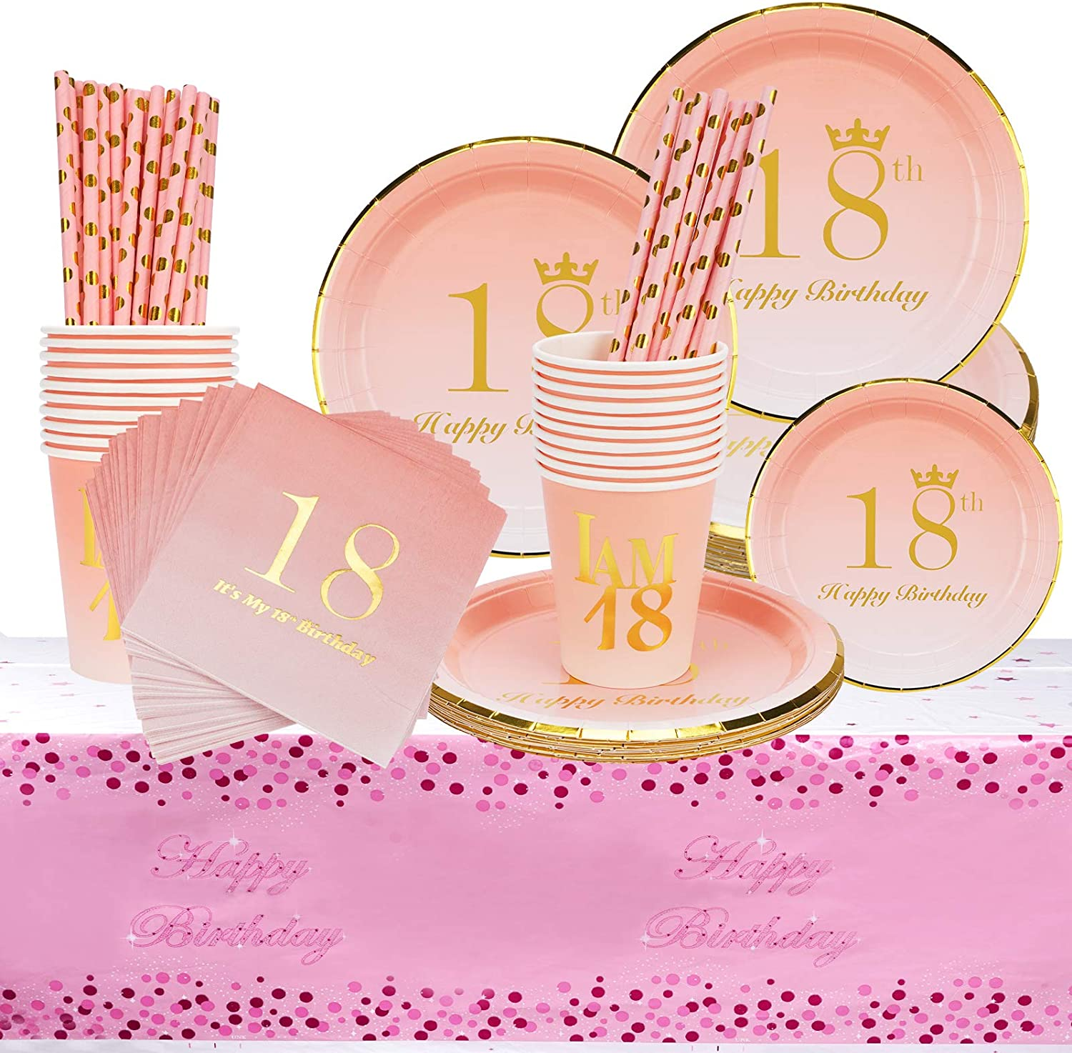 Serves 24 Cups Straws Disposable Tableware Includes Plates Napkins 18th Birthday Decorations Party Supplies Set Tablecloth for Girls 18 Birthday Party