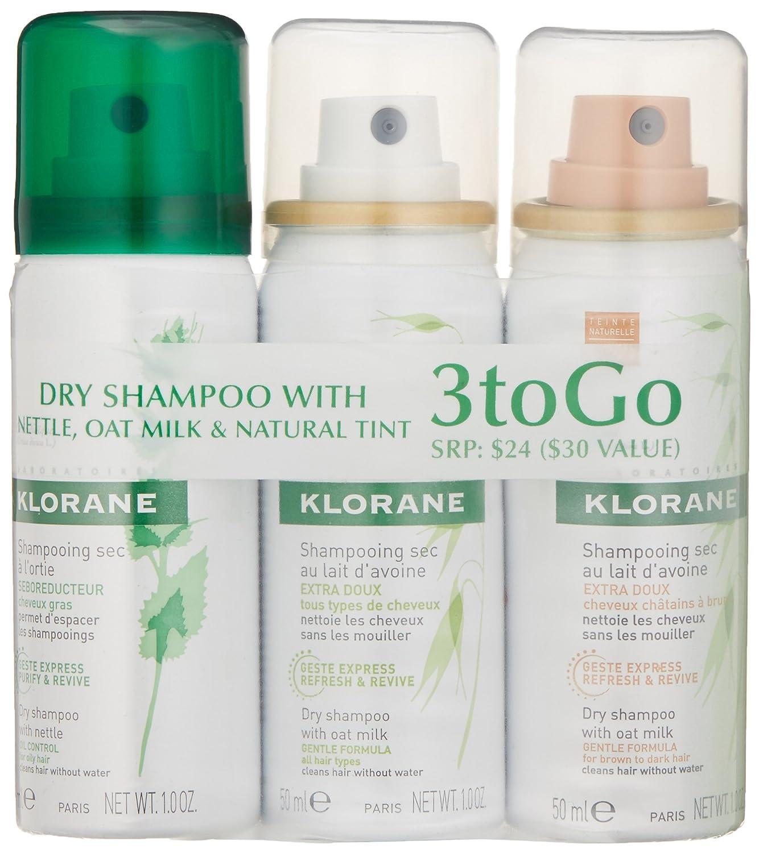 Klorane Dry Shampoo Amazoncom Klorane 3 To Go Mix Assortment Dry Shampoo 3 Oz