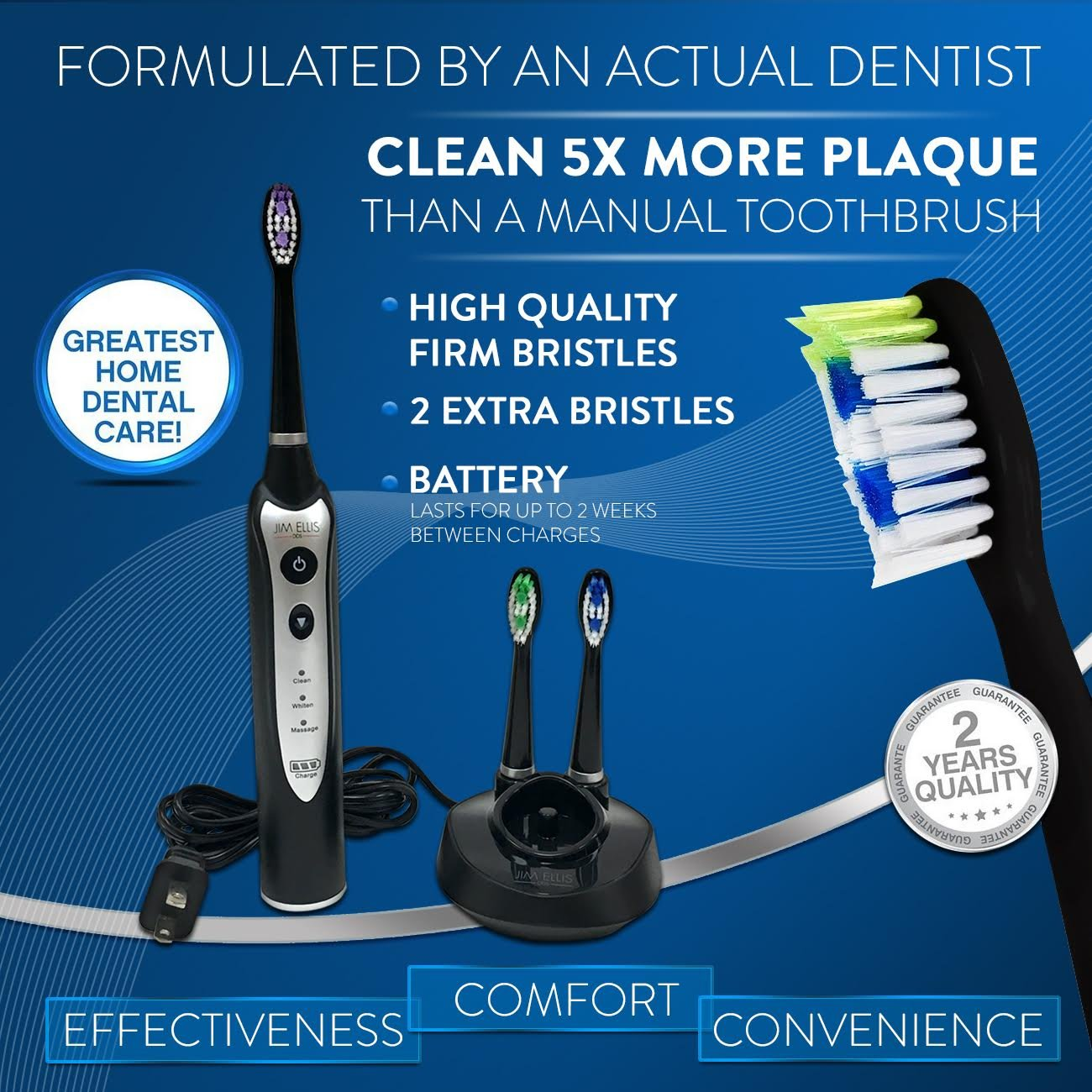 Brushing new toothbrush claims to clean teeth in 6 seconds abc news - Amazon Com Electric Toothbrush By Dr Jim Ellis For Superior Dental Hygiene Health Personal Care