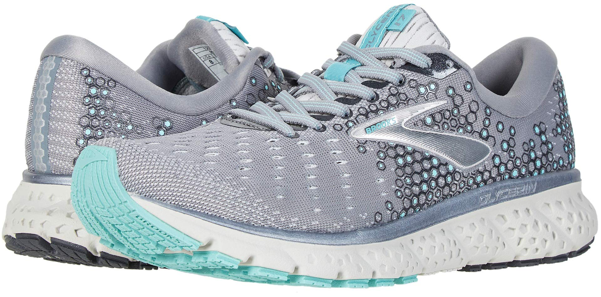 Brooks Women's Glycerin 17 Grey/Aqua/Ebony 7.5 Wide US by Brooks