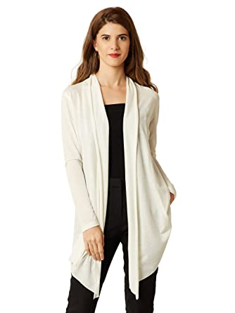 d66d99b2f2b Miss Chase Women's White Open Front Waterfall Shrug: Amazon.in ...