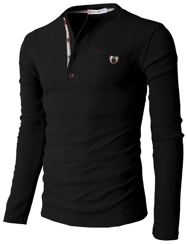 【H2H】 メンズ カジュアル ファッション ワッフル ヘンリー Tシャツ ポケット付き CMTTS0147 B00WG4V566 4L 062-ブラック 062-ブラック 4L