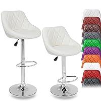 TRESKO® Set di 2 Sgabelli-Bar moderni, Sedia Bar, Sgabello Lounge con schienale, 10 colori diversi, cromato, rotazione libera a 360 °, la regolazione in altezza dei sedili 60,0 - 80,0 cm