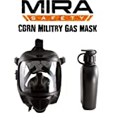 MIRA NBC Full Face Emergency Gas Mask Certified With EN 136– Durable Bromobutyl Rubber, Wide Visor, Ergo Speech Diaphragm – Protect Against CBRN Nuclear, Biological, Radiological Agents (Mask System)