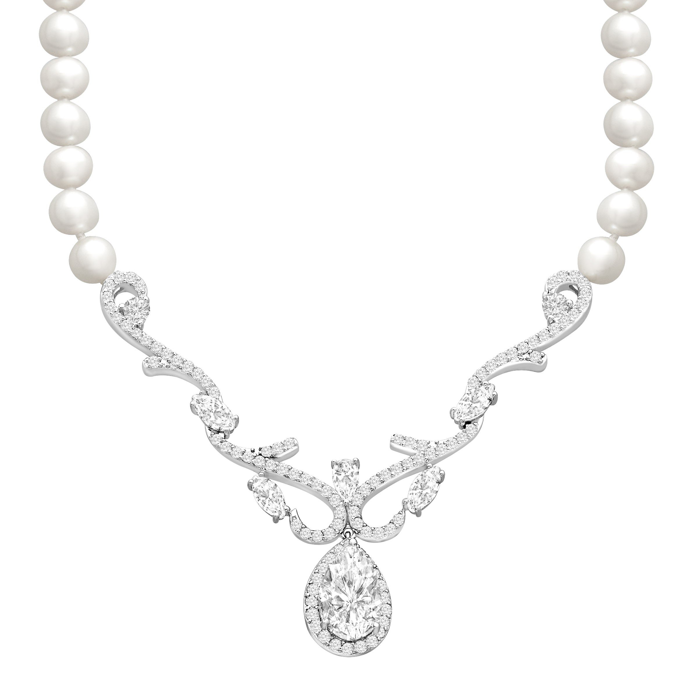 5 ct White Topaz and Freshwater Cultured Pearl Necklace in Sterling Silver