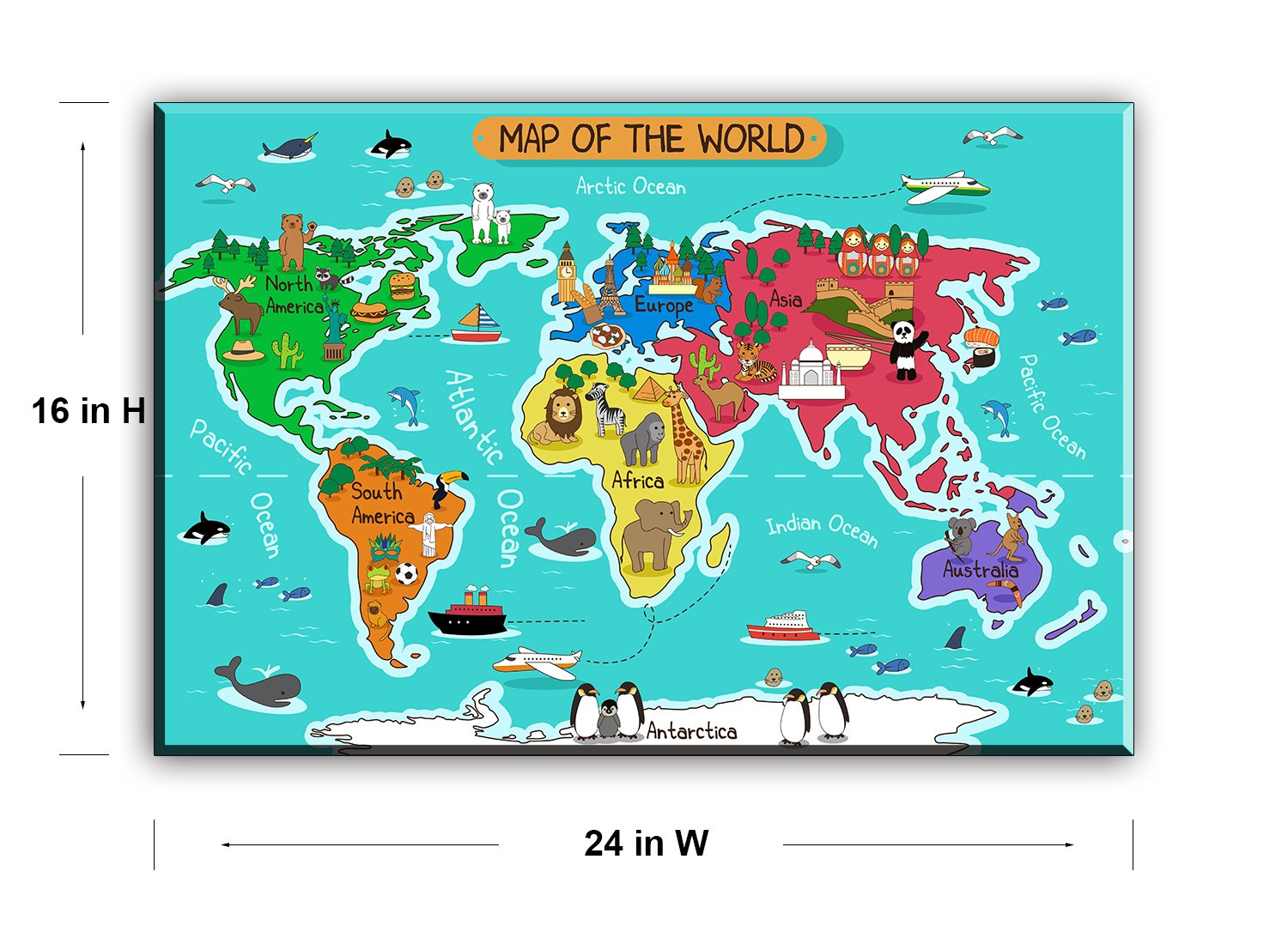 Amazon Com World Map Canvas Wall Art For Kids Room Typical Animals