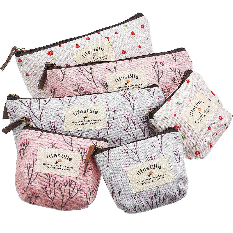 TecUnite 6 Pieces Pencil Bag Pen Case Flower Floral Canvas Pencil Pen Case Multi-functional Cosmetic Makeup Bag Set Coin Purse