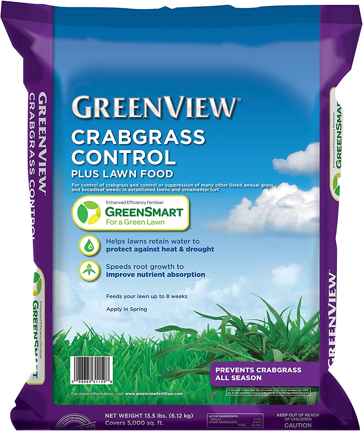 GreenView 2131251 Crabgrass Control + Lawn Food, 13.5 lb. -Covers 5,000 sq. ft