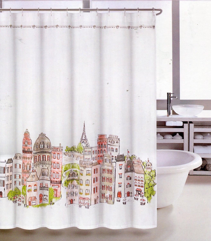 Tahari shower curtains - Amazon Com Tahari Paris In Color Fabric Shower Curtain Multicolor Home Kitchen