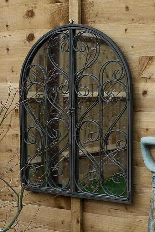 Espejo grande de pared para jardín con puertas de 60 cm x 48 cm: Amazon.es: Jardín