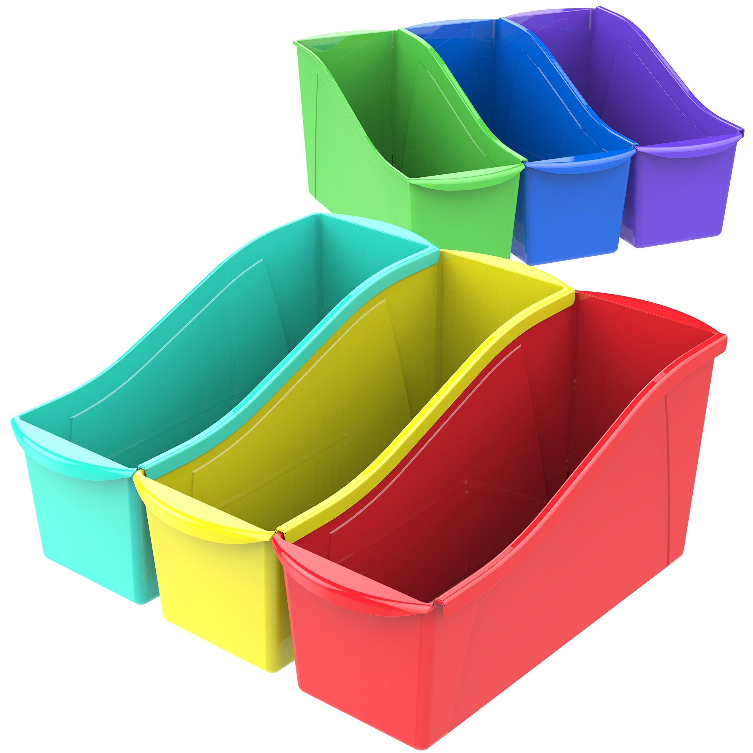 Storex Book Bin with Label Holder, 14.3 x 5.3 x 7 Inches, Assorted Colors, Case of 6 (70110U06C)