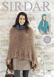 33ab631750 Sirdar 7807 Knitting Pattern Ladies and Girls Poncho to knit in Sirdar Touch