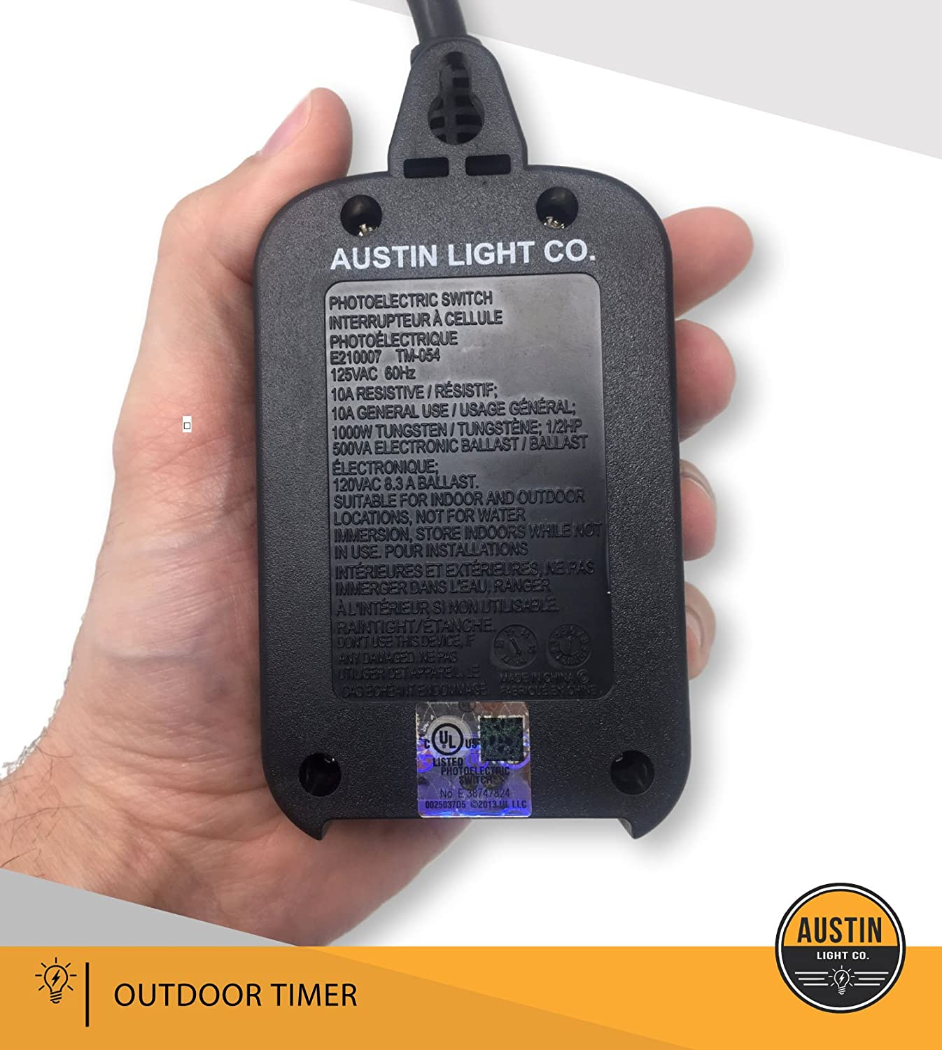 Austin Light Co 1 Socket Outdoor Outlet Timer With Photocell Switch Electronic Design Sensor Weatherproof Black Ul Listed Commercial Grade Great For Christmas Holiday Lights Patio