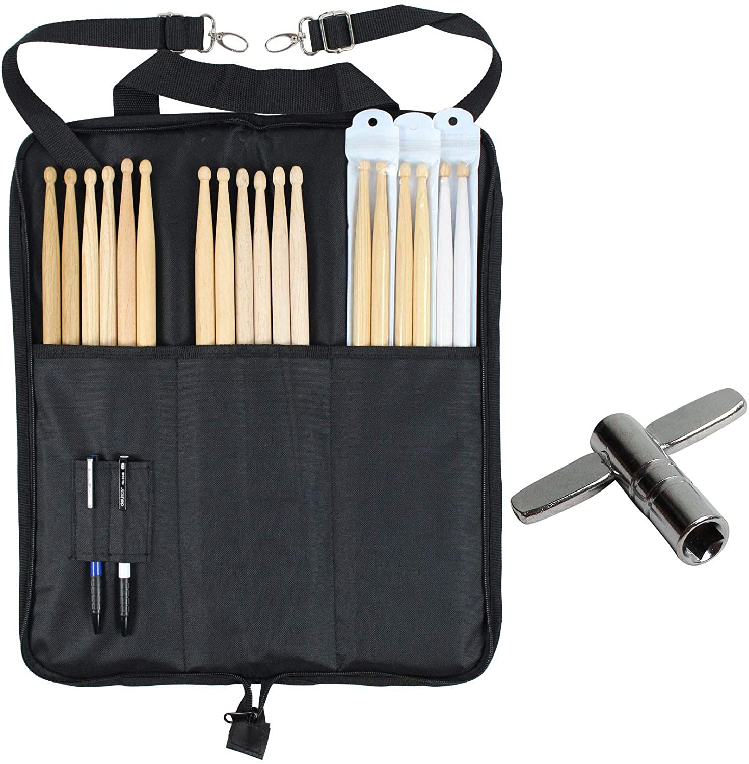 YMC DSB10-BK 10mm Foam Drum Stick Bag Holder Mallet Bag Drumstick Bag with A Drum Key