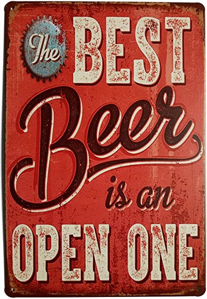 Metal Tin Sign free beer here tomorrow only Decor Bar Pub Home Vintage