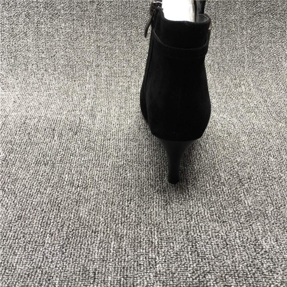 Qiusa Damen High Heel Stiefeletten (Farbe     Schwarz Größe   34EU) f37ae4