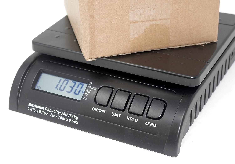 B/áscula electr/ónica de pesaje para todos los paquetes y franqueo Enviar paquete con confianza PS34 Conozca su caja y peso carta Cajas grandes o peque/ñas hasta 34 kg B/áscula postal digital