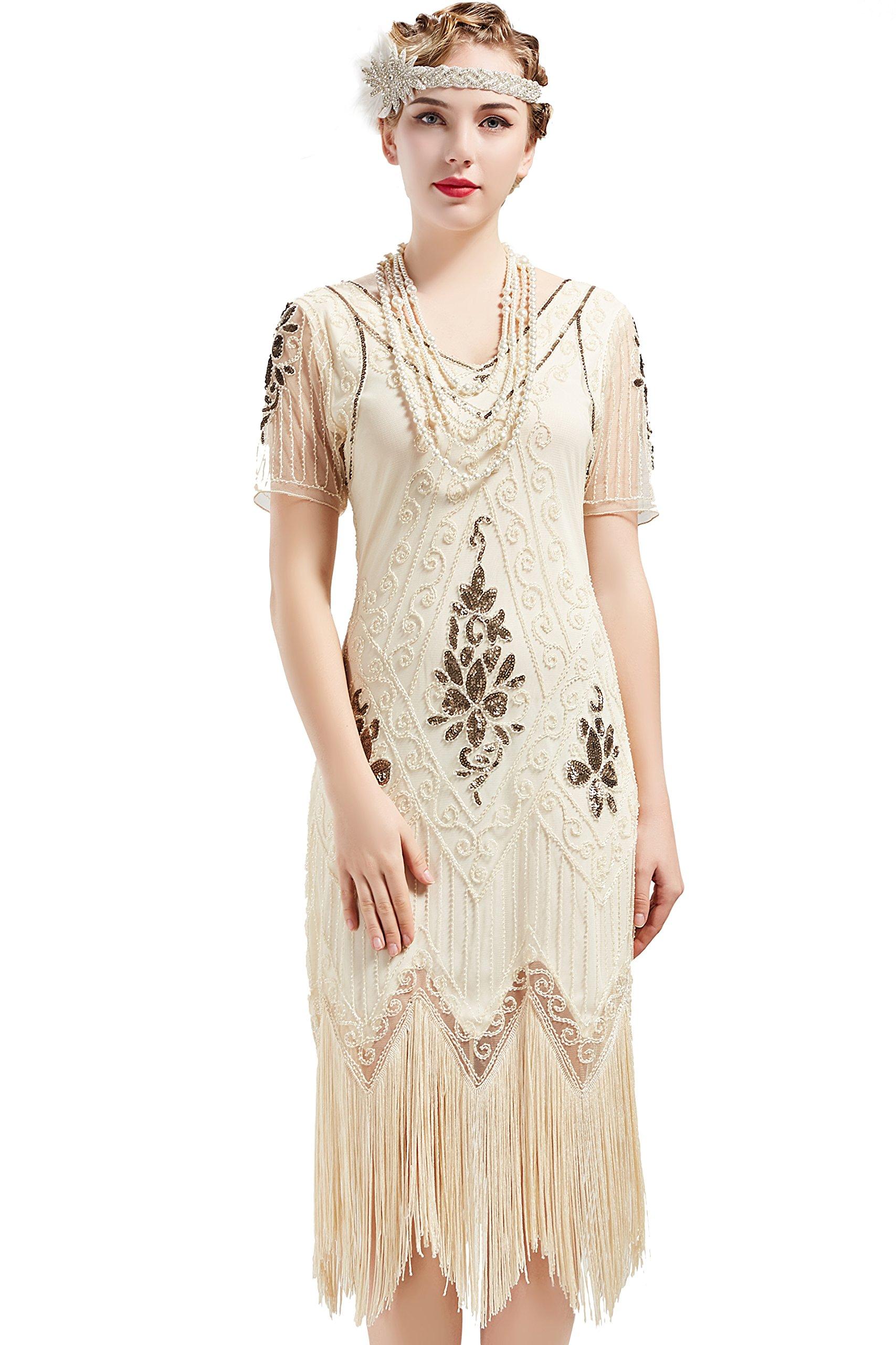 BABEYOND 1920s Art Deco Fringed Sequin Dress Roaring 20s Flapper Fancy Dress Gatsby Costume Dress Vintage Beaded Evening Dress (Beige, Large)