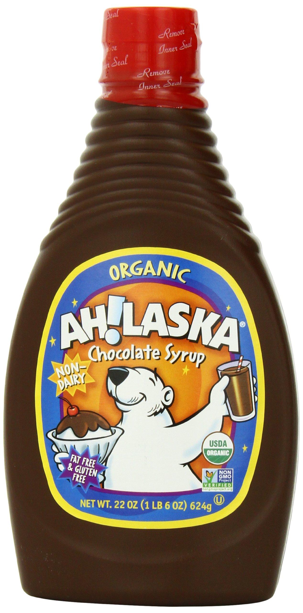 AH!LASKA Organic Chocolate Syrup, 22 Ounce (Pack of 4)