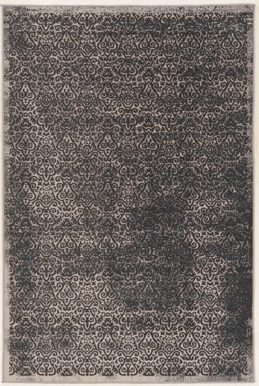 Linon Vintage Collection Illusion Blue Synthetic Rugs, 8 x 10 ,