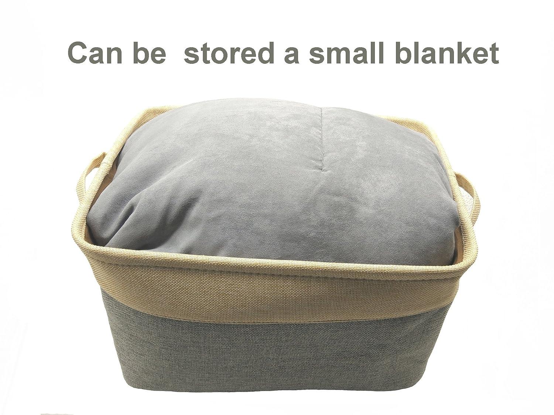 organizador abierto de almacenamiento superior abierto de tela organizador de lino y algod/ón Cestas de almacenamiento plegable grande para ropa de lavander/ía 1 unidad