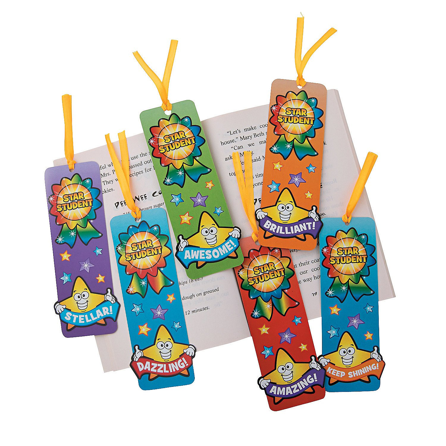 Fun Express - Laminated Star Student Bookmarks - Stationery - Bookmarks - Bookmarks - 48 Pieces