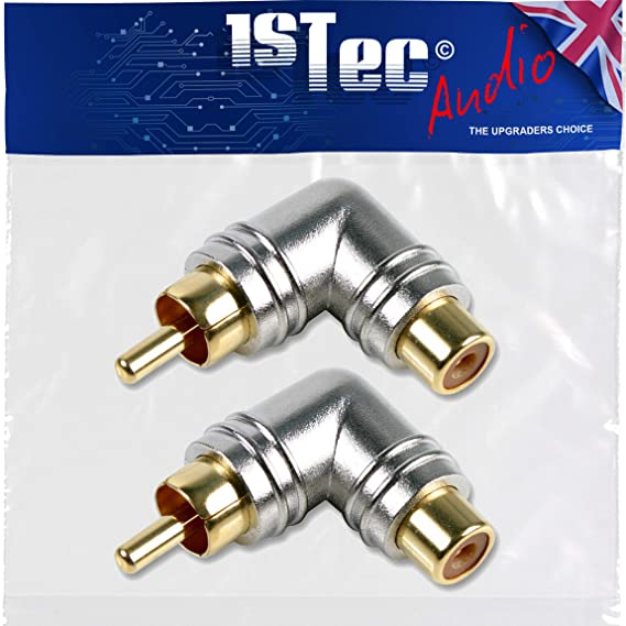 1STec Pair of Right Angled 90/° Degree Gold Plated RCA Phono Elbow Type Adaptor for Angle Changing Stereo Audio or AV Video Cable Leads Male to Female or Plug to Socket Connectors Red + White