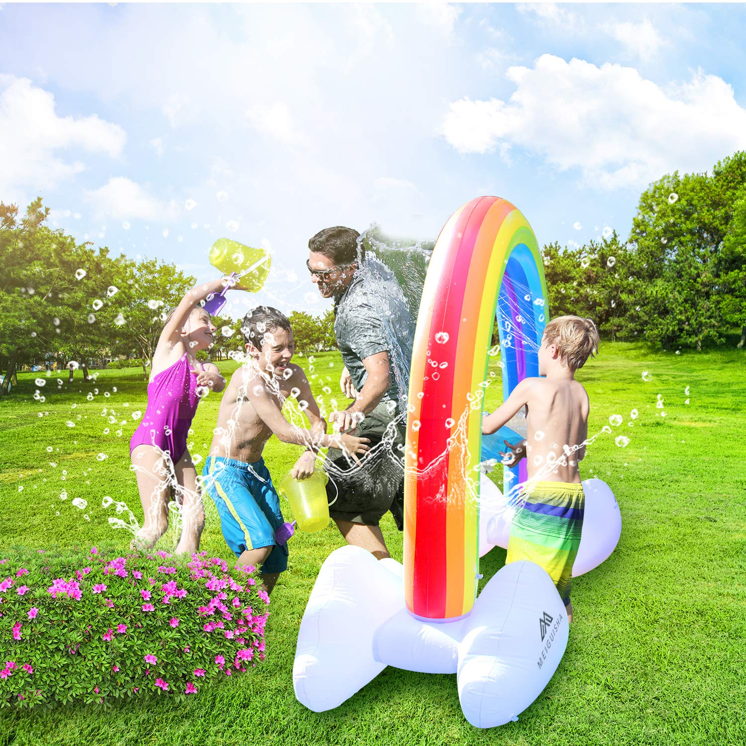 MeiGuiSha Inflatable Rainbow Yard Summer Sprinkler Toy, Over 6 Feet Long, Perfect for Summer Toy List by MeiGuiSha (Image #5)