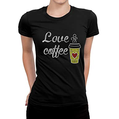 270866072 Wear Bling Bling Bedazzled T-Shirt, Black Color (Small), Coffee at ...