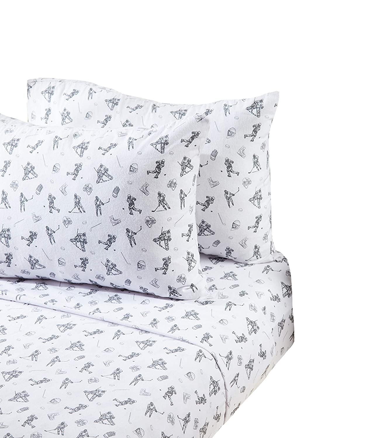 1 Flat Sheet,1 Fitted Sheet 100/% Cotton Flannel Full 2 Pillowcases Stars and Moon Flannel Hockey Players Full Sheet Set