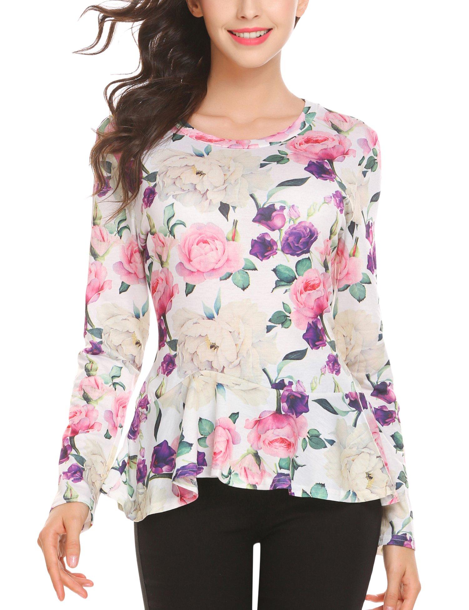 SE MIU Women Long Sleeve Floral Ruffle Hem Casual Blouses Top