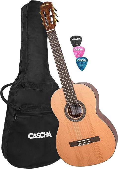 CASCHA Guitarra de concierto 4/4, incluyendo bolsa, guitarra ...